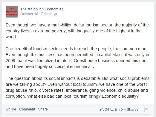 Maldivian Economist on local tourism